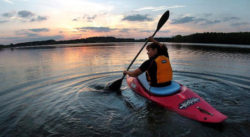 kayak on river, relaxing, giving up control